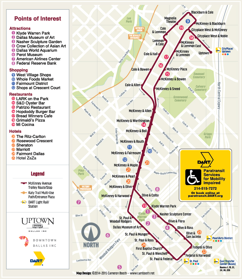 map of uptown dallas Route Map Schedule M Line Trolley Mckinney Avenue Transit map of uptown dallas